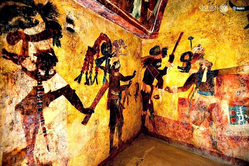 Algunas de las impactantes pinturas murales, tal y como lucen 70 años después de haber sido descubiertas por el hombre occidental. (Fotografía: Mauricio Marat / INAH)