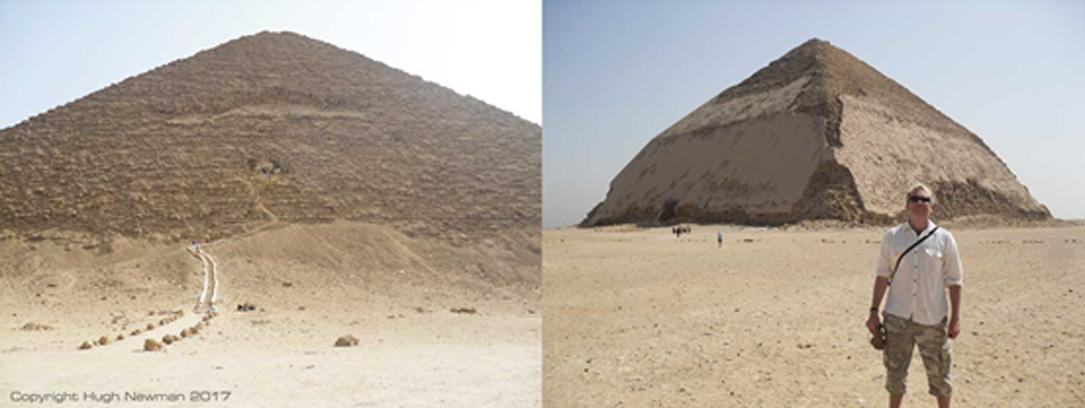 Izquierda: Pirámide Roja de Dahshur. Derecha: El autor del artículo ante la Pirámide Acodada de Dahshur. Fotografías: Hugh Newman.