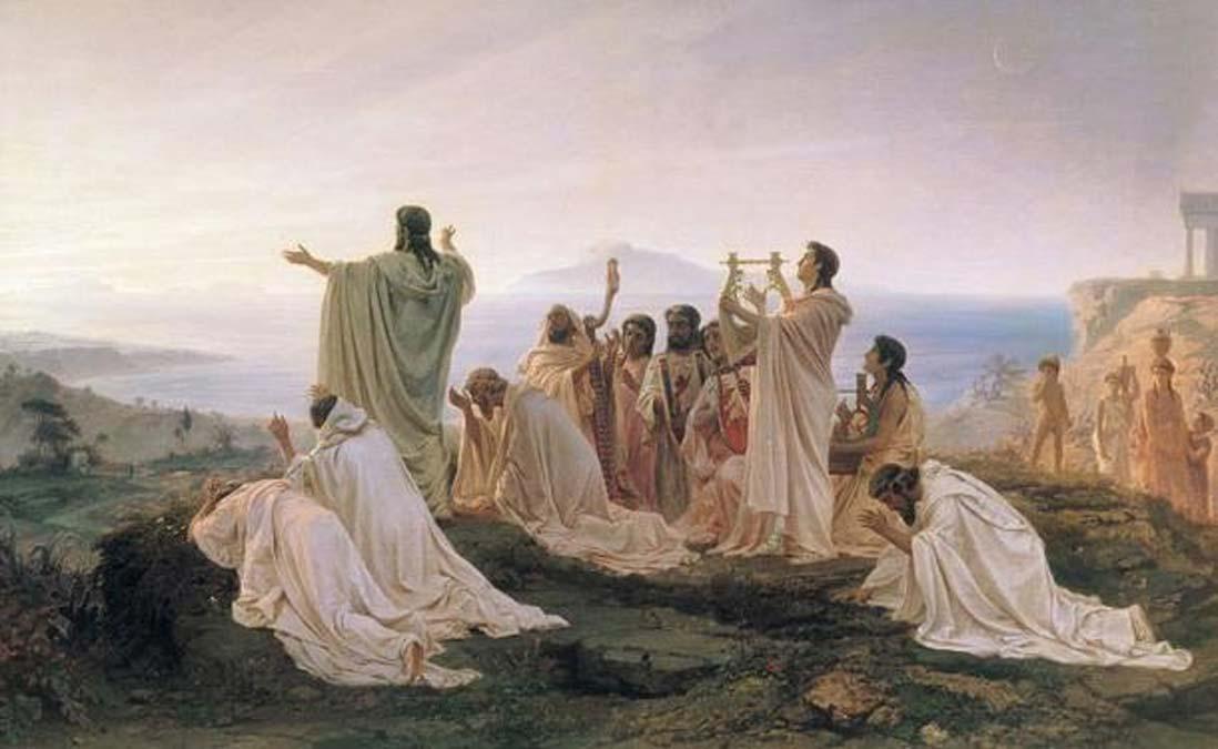 Pitagóricos entonan un himno al sol naciente. Óleo de Fyodor Bronnikov pintado en 1869. (Public Domain)