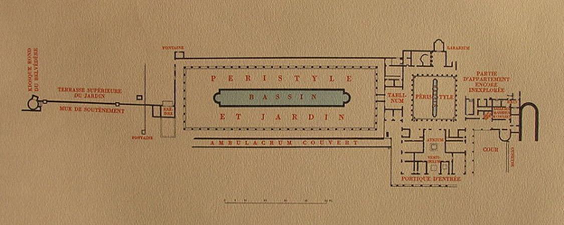 Plano de la Villa de los Papiros (Herculano) realizado por el arquitecto e ingeniero suizo Karl Weber. (Public Domain)