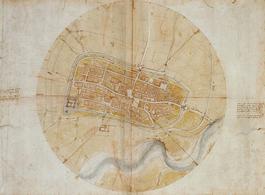 Plano de Imola (1502) realizado por Leonardo da Vinci para César Borgia. (Public Domain)