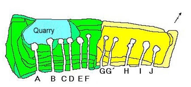 Planta esquemática del Cairn de Barnenez. La primera fase de construcción aparece en amarillo, la segunda en verde. (CC BY-SA 3.0)