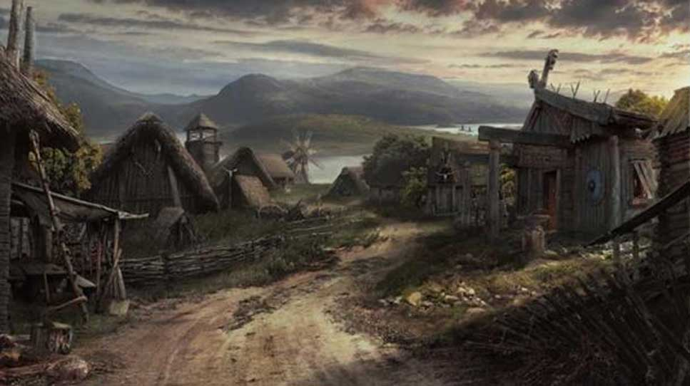 Representación artística de un poblado vikingo. (Lukasz Wiktorzak/ArtStation)