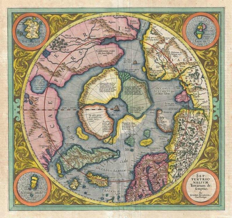 Mercator: Septentrionalium Terrarum descriptio. Mapa del Polo Norte (1623). (Public Domain)
