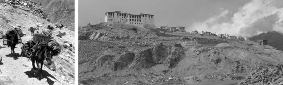 Izquierda: imagen de la caravana de la expedición al Tíbet. Derecha: Monasterio de Hemis