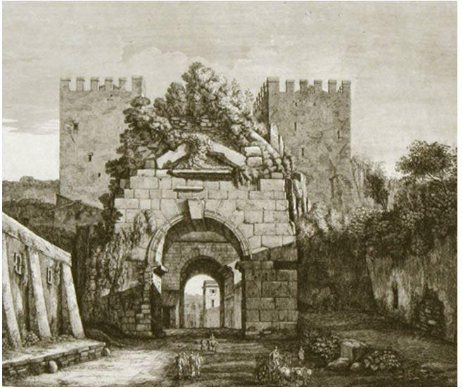Porta Capena, Roma. Grabado de Luigi Rossini