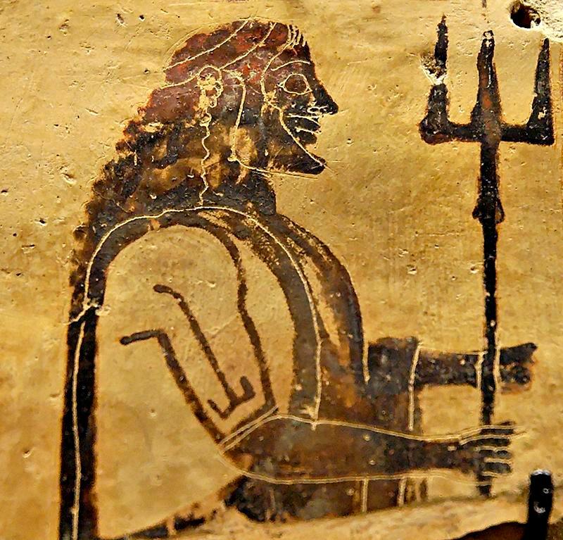 Poseidón portando su tridente. Placa de cerámica corintia procedente de Penteskouphia, (550-525 a. C.). Museo del Louvre, París, Francia. (Public Domain)
