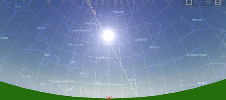 Posición del sol y las estrellas en el solsticio de verano del 10950 a. C. (Martin Sweatman, Stellarium)