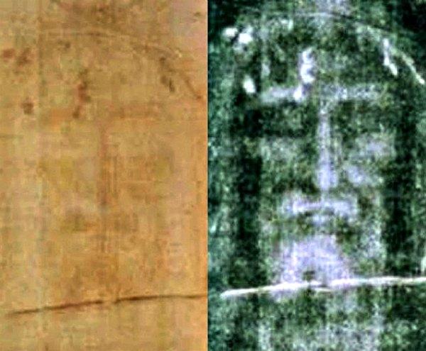 Detalle de la llamada Sábana Santa en sus dos versiones: a la izquierda, en positivo y a la derecha, en negativo. Debemos tener en cuenta que la imagen del sudario vendría a ser la impresión directa del cuerpo sobre la tela, de tal manera que su lado derecho (a la izquierda en la imagen) correspondería a la izquierda del rostro real. Por tanto, estaríamos viendo una imagen invertida. (Public Domain)