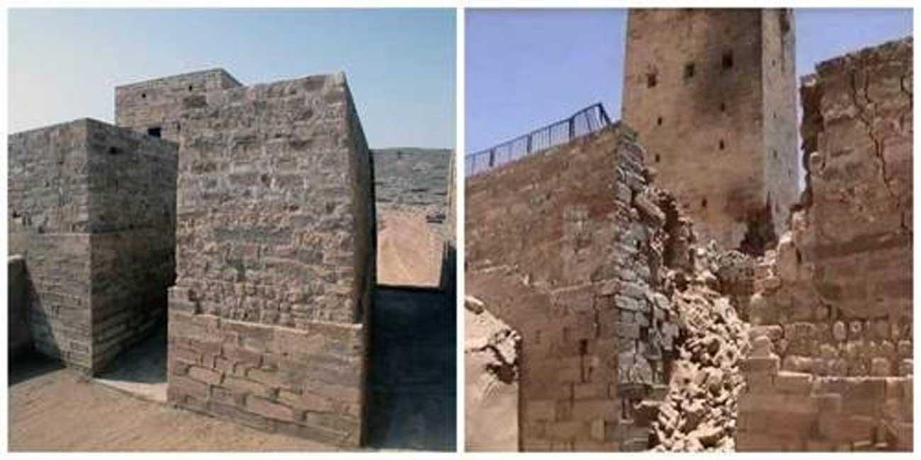 La presa de Ma'rib antes y después de los ataques aéreos del año 2015. (Fair Use)