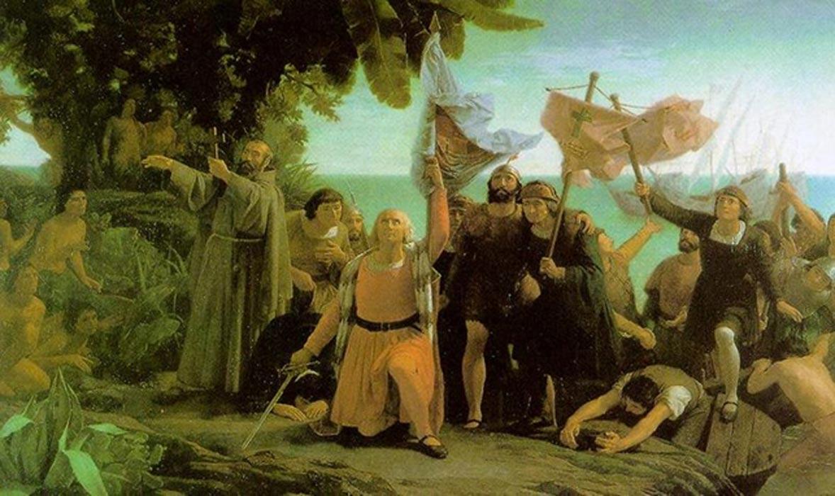 Colón y los hermanos Pinzón llegan a América. 'Primer desembarco de Cristóbal Colón en América.' (1862). Óleo de Dióscoro Puebla (Public Domain)