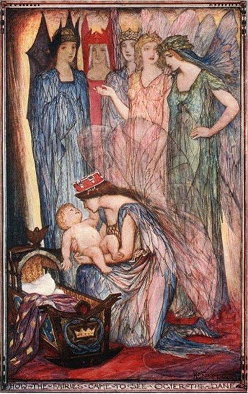 Princesa cantando una nana, ilustración de H.J. Ford, 1921 (carolynemerick.com)