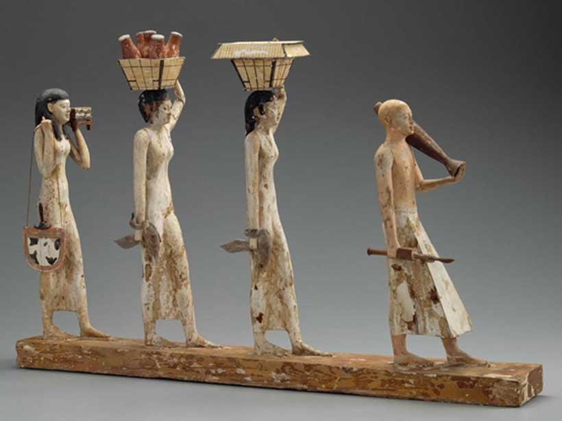 'La procesión de Bersha', magnífica pieza de madera hallada en la tumba 10A. Crédito: Museo de Bellas Artes, Boston