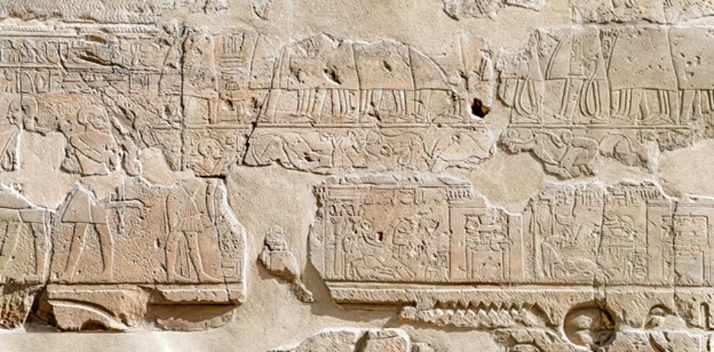 Procesión del Festival de Opet, muro este de la columnata del Templo de Luxor, sección central. (CC BY-NC-SA 2.0)