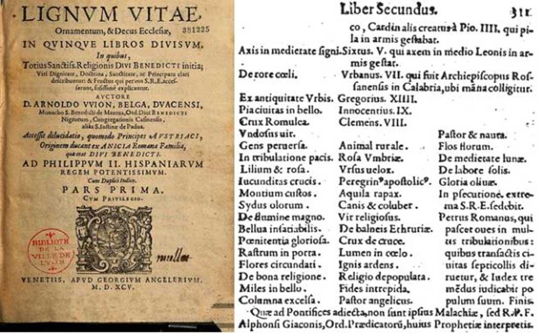 Portada (dominio público) y última página (dominio público) de las profecías del Lignum Vitæ (1595).