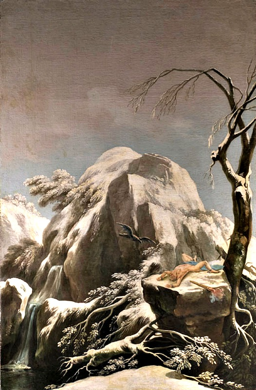 Prometeo encadenado en las cimas nevadas del Cáucaso. Óleo de Francesco Foschi, (1710–1780). (Dominio público)