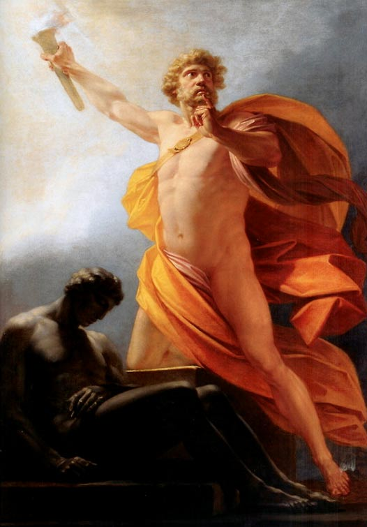 'Prometeo Trae el Fuego', obra de Friedrich Füger. Prometeo otorga el fuego a la humanidad como relata el poeta griego Hesíodo. Public Domain