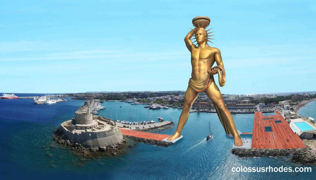 La reconstrucción proyectada del Coloso de Rodas a la entrada del puerto de la isla griega (Colossus of Rhodes Project)