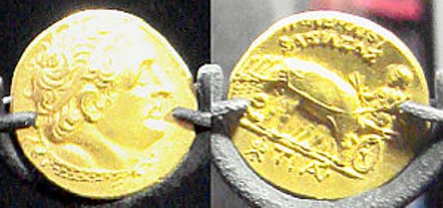 Monedas Ptolemaicas descubiertas en el yacimiento sumergido de Thonis-Heracleion, cerca de Alejandría, Egipto (Wikimedia Commons)