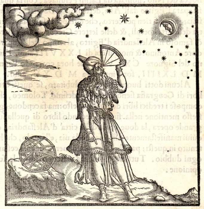 """Grabado de la obra de Giordano Ziletti """"Principios de la astrología y la geografía según Ptolomeo"""", 1564. En la ilustración podemos observar a Ptolomeo empleando un cuadrante. (Public Domain)"""