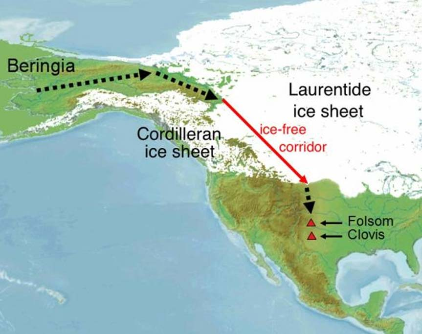 El puente de Beringia (Bering) es el camino aceptado habitualmente para las primeras migraciones humanas llegadas al continente americano. (CC BY SA 3.0)