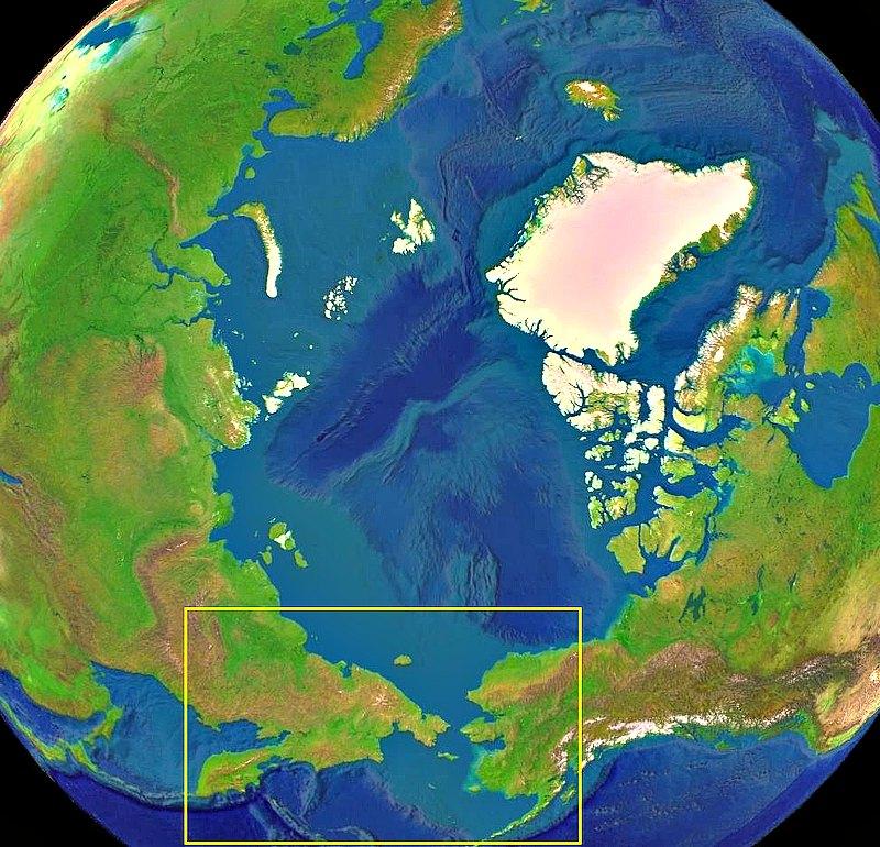 """Localización geográfica de Beringia. El puente de Beringia era un puente de tierra que conectaba Siberia (Asia) con Alaska (América), y abarcaba la mayor parte del actual mar de Bering. Este """"puente"""" se formó en dos fases de la última glaciación debido al descenso de los océanos en la región en la que actualmente se encuentra el estrecho de Bering. (Public Domain)"""