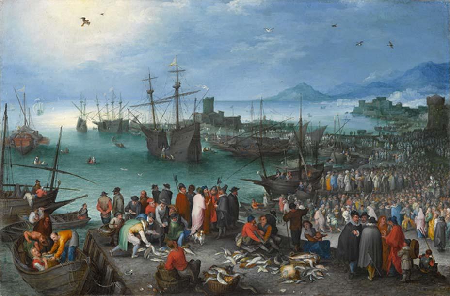 Escena portuaria con la 'Partida de San Pablo desde Cesarea', óleo sobre cobre de Jan Brueghel el Viejo (Public Domain)