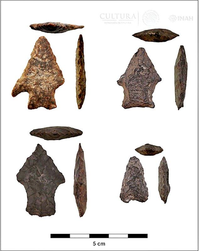 Puntas de flecha y proyectiles recuperados en el yacimiento de La Pintada. (Fotografía: Proyecto Arqueológico La Pintada/INAH)