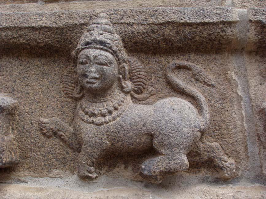 Purushamriga o esfinge india representada en el templo de Varadaraja Perumal en Tribhuvanai, India. (CC BY-SA 3.0)