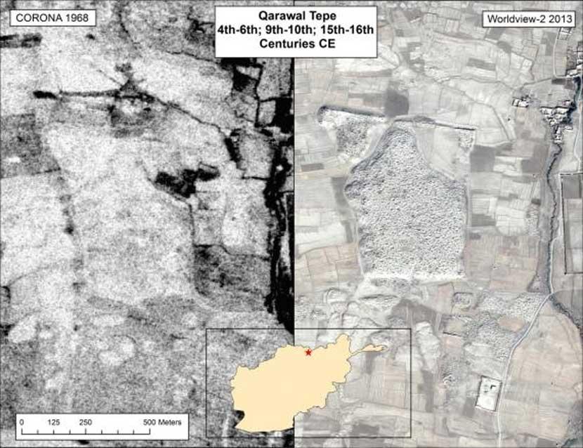 El yacimiento de Qarawal Tepe, situado en el norte de Afganistán, ha sido extensivamente saqueado --la imagen del 2013 nos muestra el lugar marcado por miles de hoyos excavados ilícitamente. (USGS y DigitalGlobe)