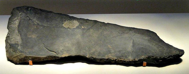 Qing (instrumento de percusión) de piedra perteneciente a la cultura de Erlitou. Desenterrado en Dongxialeng, Xiaxian, provincia de Shanxi, 1974. (BabelStone/CC BY-SA 3.0)