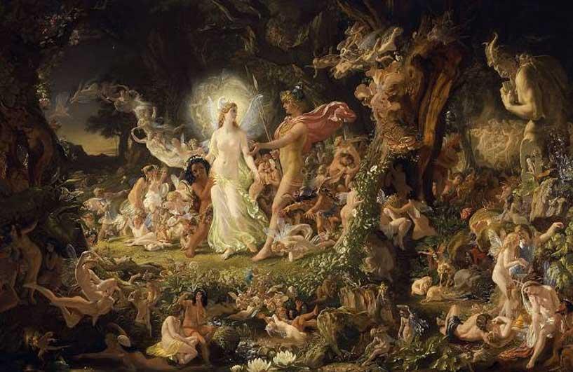 'La querella de Titania y Oberón', óleo de Joseph Noel Paton. Las hadas de Shakespeare. (Public Domain)