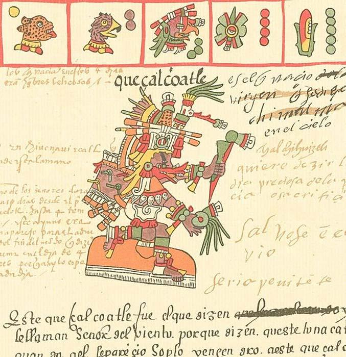 El dios Azteca Quetzalcóatl tal y como aparece representado en el Códice Telleriano-Remensis (siglo XVI). (Dominio público)