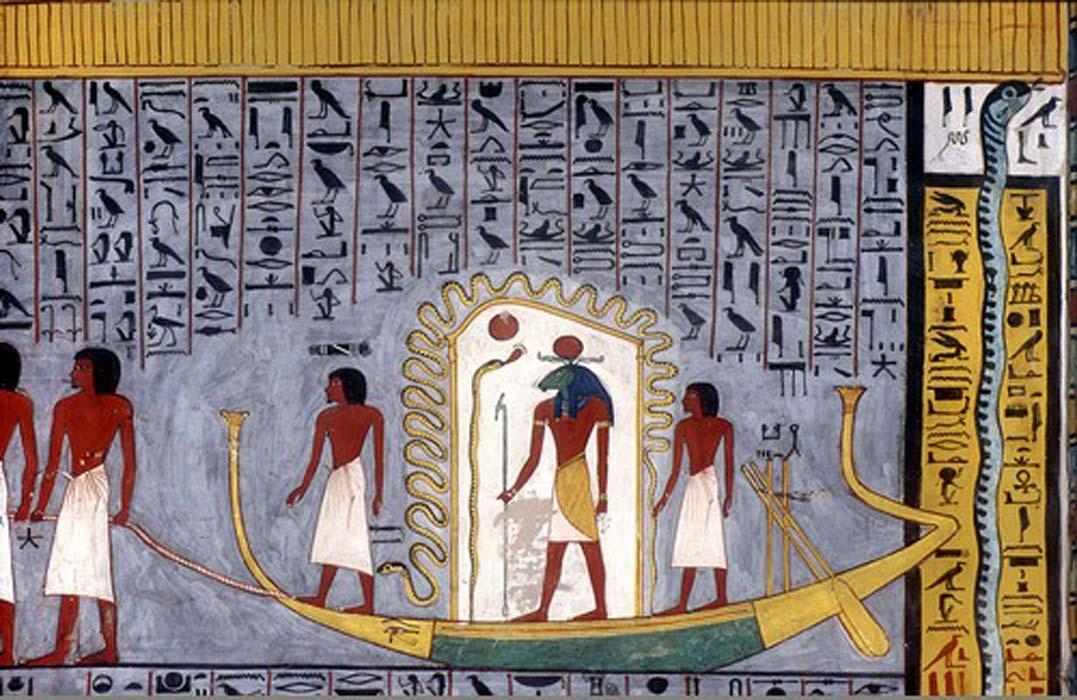 Ra navega hacia el más allá en su barca solar, copia del Libro de las Puertas de la tumba de Ramsés I (KV16). (Public Domain)