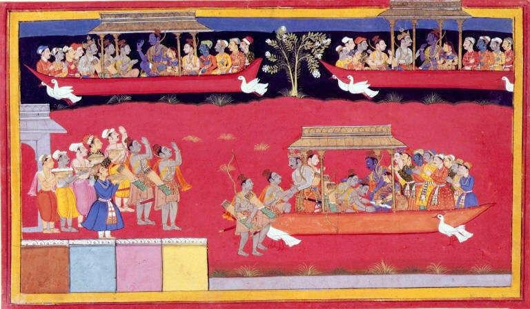 Rama regresa a Ayodhya y es vitoreado por sus súbditos. En esta antigua ilustración del Ramayana aparece el Pushpaka Vimana en tres ocasiones: dos en pleno vuelo (arriba) y otra después de haber aterrizado, más abajo a la derecha. (Public Domain)