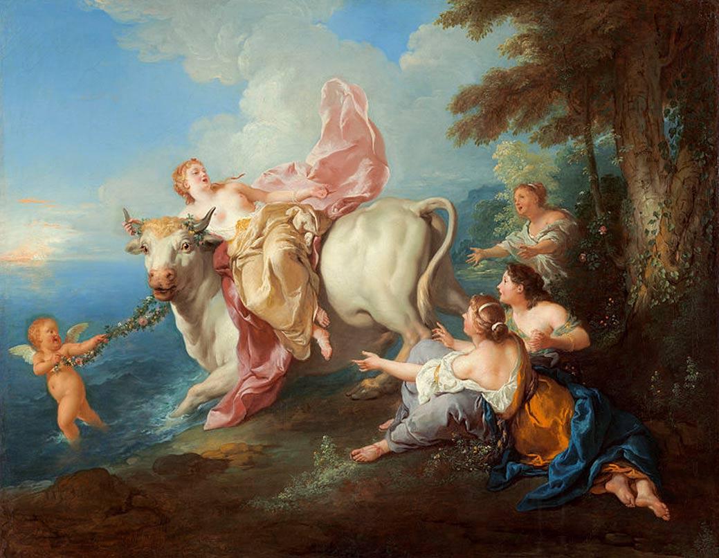 """""""El rapto de Europa"""", mito en el que Zeus se convierte en un toro para seducir a Europa. Óleo de 1716, obra del pintor Jean François de Troy (1679 - 1752). National Gallery of Art, Washington, Estados Unidos. Dominio Público."""