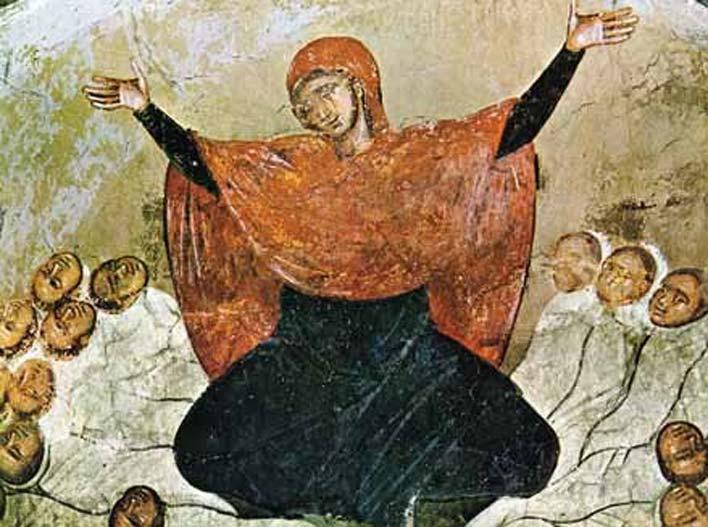 Raquel llora por sus hijos. Fresco del siglo XIV, monasterio de Marko (Macedonia). (Public Domain)