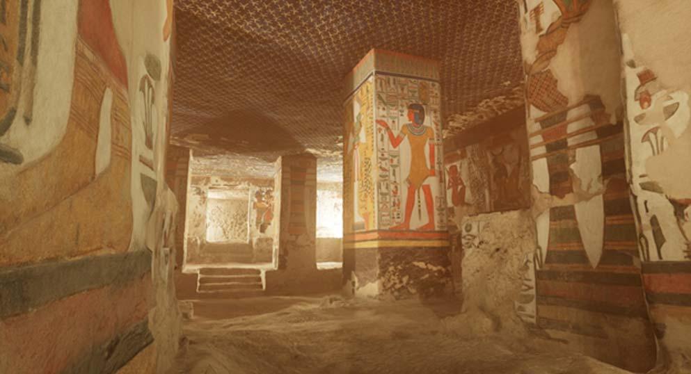 Captura de pantalla de la versión en realidad virtual de la tumba de Nefertari. Fuente: CuriosityStream