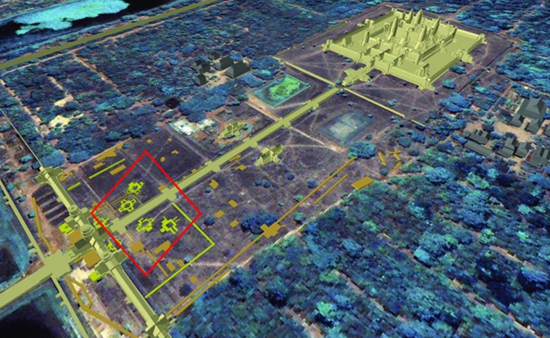 Vista general del complejo de Angkor Wat en la que se observa la relación entre las 'torres' enterradas y la posición del templo principal de Angkor Wat (Reconstrucción realizada por Sonneman, imagen de base cortesía de la ETH de Zürich).