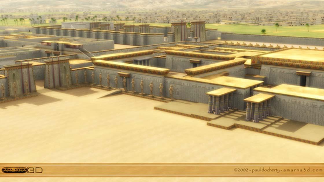 Reconstrucción informática tridimensional de la antigua ciudad de Amarna. (Paul Docherty Amarna3d.com)