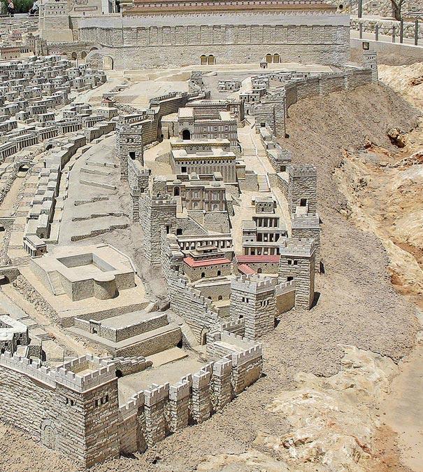 Reconstrucción digital de la Ciudad de David en la época del Templo de Herodes. En la parte superior de la imagen podemos ver la muralla sur del Monte del Templo. (public domain)