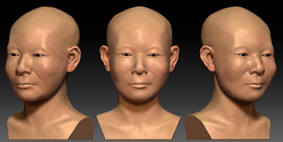 Reconstrucción digital del rostro de la mujer coreana realizada a partir de su cráneo. Imagen: Lee et al., publicada bajo una Licencia Creative Commons.