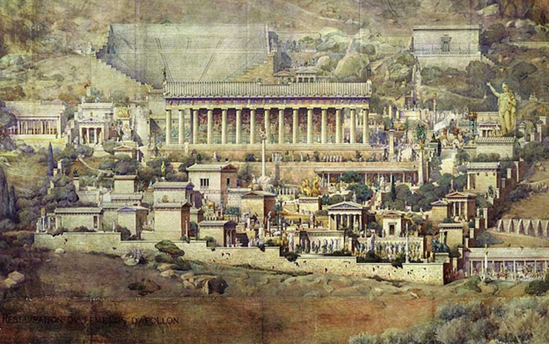 Reconstrucción del Santuario de Apolo en Delfos en una pintura de 1894 obra de Albert Tournaire, expuesta actualmente en la École nationale supérieure des Beaux-Arts. (Dominio público)