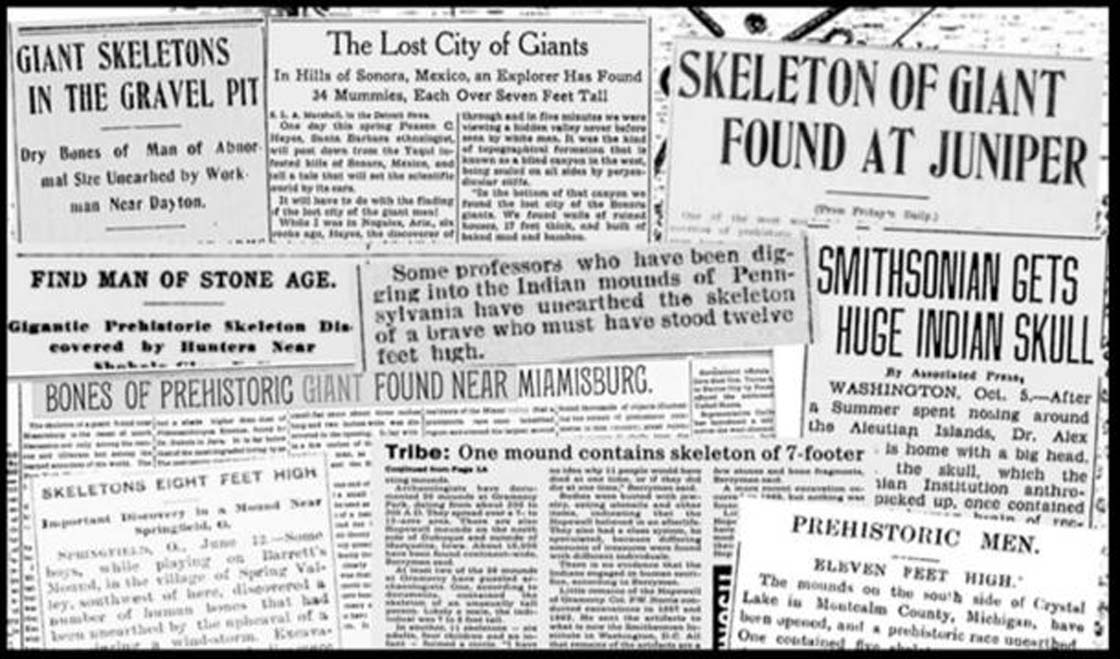 Selección de recortes de periódicos que informan del descubrimiento de esqueletos gigantes (Fotocomposición: Hugh Newman)