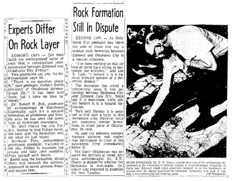 Tres recortes del diario de Oklahoma 'The Lawton Constitution' del verano de 1969 (6/29/69, pág.4A, 7/8/69, pág.18, 7/10/69, pág.5A) que describen las diferencias de opinión sobre la naturaleza de este descubrimiento (geológico). (Imagen: Código Oculto)