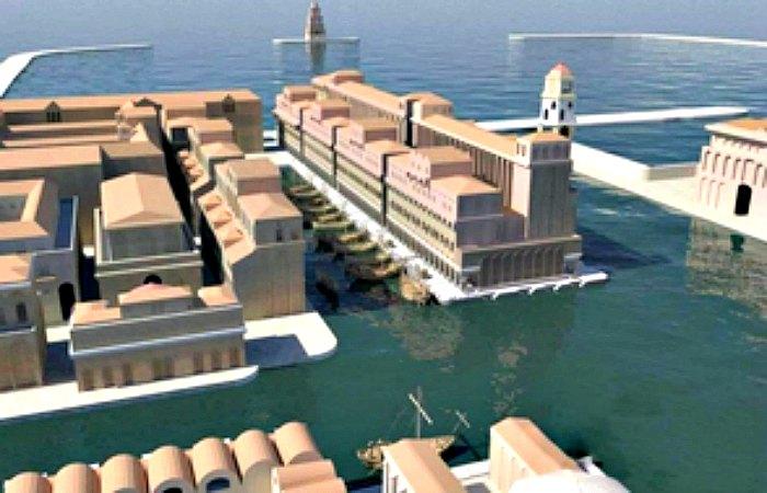 Recreación digital del antiguo puerto imperial de Roma. (Fotografía: Listín Diario)