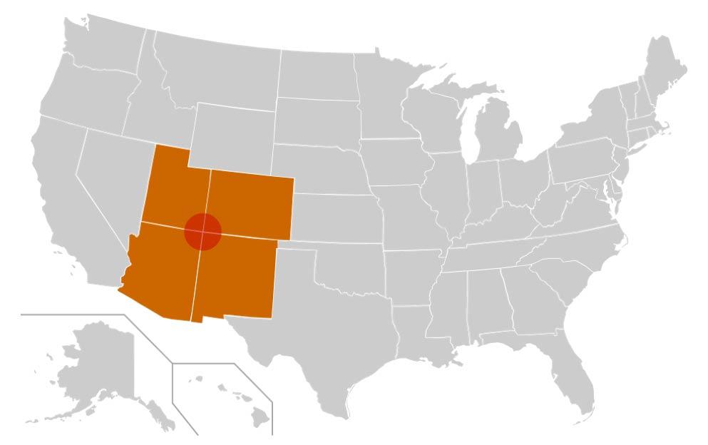 La región de Four Corners aparece en rojo en este mapa. Comprende los estados de Colorado, Utah, Arizona, y Nuevo México (Estados Unidos). (CC BY-SA 3.0)