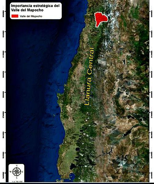 Región del Mapocho en rojo, sobre la llanura longitudinal que se extiende hacia el sur a lo largo de 1000 kilómetros (Estudio del MNHN de Rubén Stehberg y Gonzalo Sotomayor/La Gran Época)