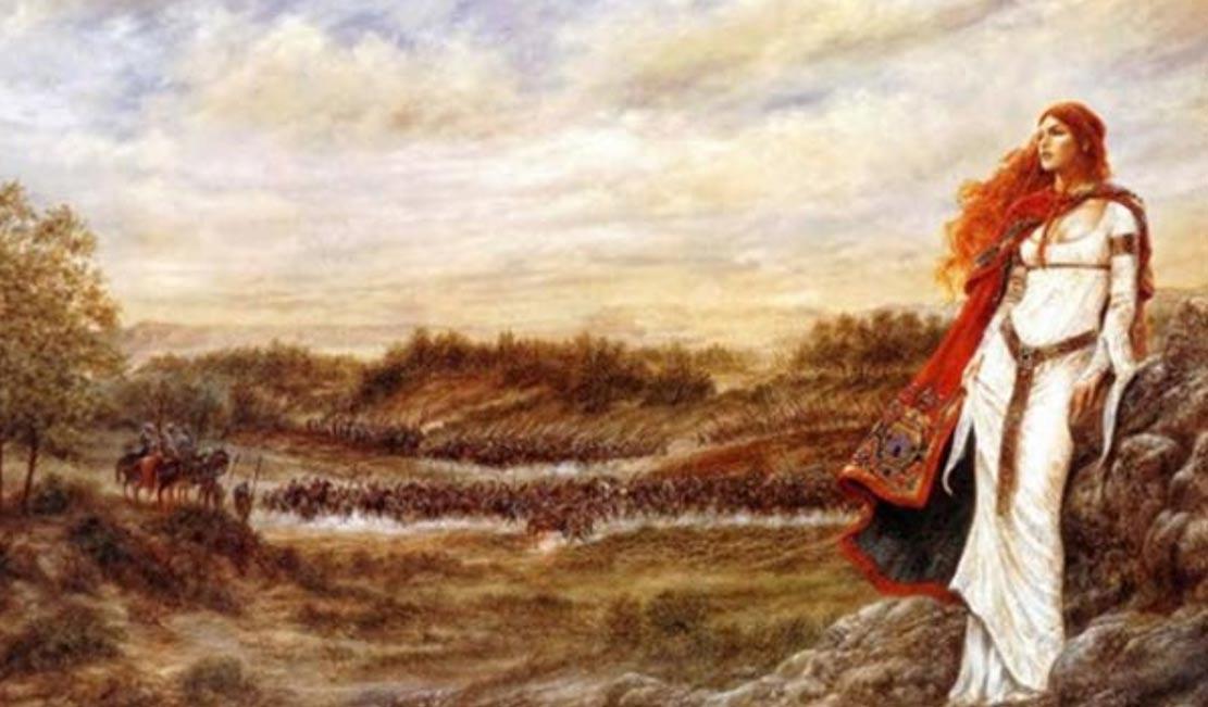 Cuadro de la reina Boudicca con su ejército al fondo. Imagen.