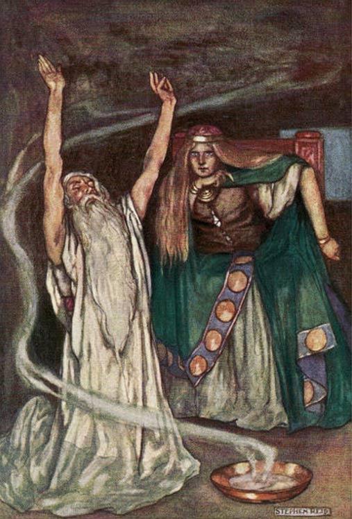 La reina Maeve y el druida. (Public Domain)